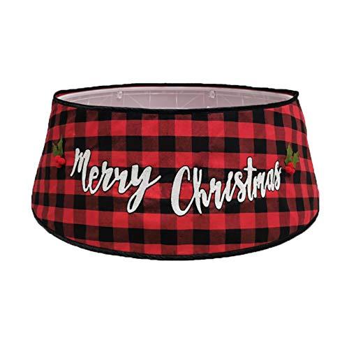 Kerstboom Rok, zwart en rood Plaid boomrok kerstversiering, kerst Double Layer boomrok decoraties,Red