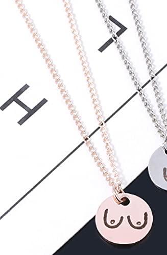 Aldevins&Granger Collar Colgante Cadena Nuevo Collar con Colgante De 3 Colores, Collar con Dije De Disco, Joyería De Acero Inoxidable para Hombres Y Mujeres, Regalos, Oro Rosa