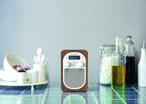 Pure Evoke H2 Portable FM/DAB+/DAB Digital Radio, DAB Radio with Alarms, 20 Pre-sets, AUX Input and Kitchen and Sleep Timer, Walnut