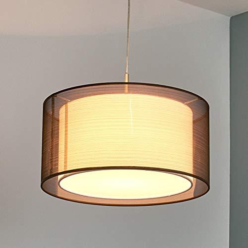 Lindby Pendelleuchte 'Nica' (Modern) in Alu aus Textil u.a. für Wohnzimmer & Esszimmer (1 flammig, E27, A++) - Hängeleuchte, Esstischlampe, Hängelampe, Hängeleuchte, Wohnzimmerlampe