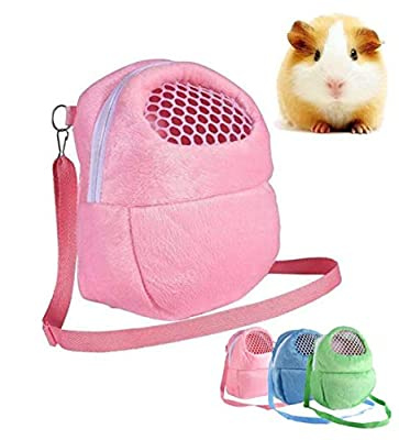 Hpybest Small Pet Carrier Rabbit Cage Hamster Chinchilla Travel Warm Bags Cages Guinea Pig Carry Pouch Bag Breathable (L) from Hpybest