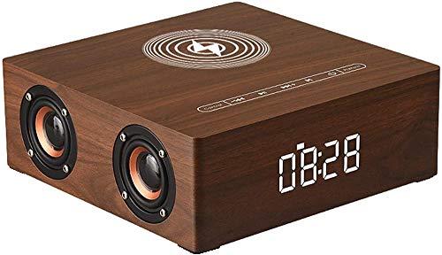 Reloj despertador digital de madera con altavoz Bluetooth de cabecera de 12 W Estación de carga inalámbrica súper rápida para Iphone/Samsung Galaxy USB Puerto de carga 4 altavoces bluetooth marrón