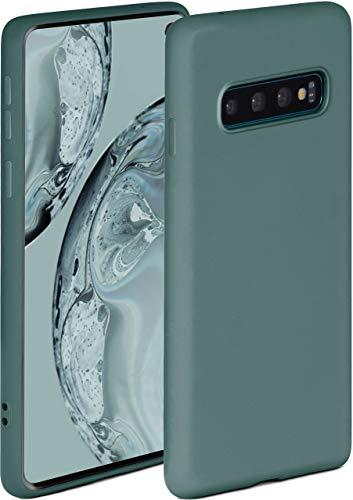 ONEFLOW Soft Case kompatibel mit Samsung Galaxy S10 Hülle aus Silikon, erhöhte Kante für Bildschirmschutz, zweilagig, weiche Handyhülle - matt Petrol