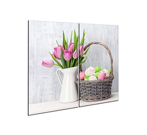 CTC-Trade   Set di piastre di copertura per fornelli, 2 x 30 x 52 cm, copertura in vetro per piano cottura in vetroceramica, uova di Pasqua