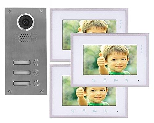 2 Draht 3-Familienhaus Video Türsprechanlage Gegensprechanlage mit 7 \'\' Monitor