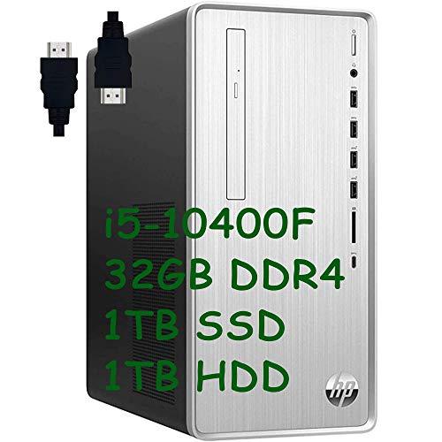 HP Pavilion 2020 Premium Gaming Desktop I 10th Gen Intel 6-Core i5-10400F (I7 8700T) I 32GB DDR4 1TB PCIe SSD + 1TB HDD I AMD Radeon 550 2GB DisplayPort USB-C DVD-RW Win 10 + Delca HDMI Cable