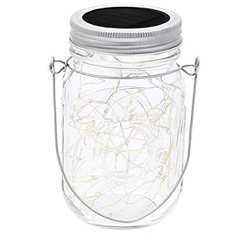 LjzlSxMF Solar Garden Lights Solar Mason Jar Lights 20 Leds Hanging Lantern String Lamp With Lid Handle Decoration For Garden, Yard, Wedding, Lawn, Fence White Light 2m