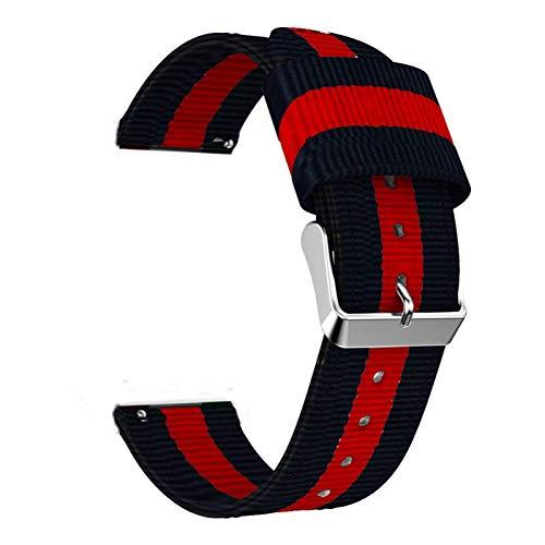 DFKai1run Correa de Nailon, Correa de Nylon de 20 mm 22mm para Ver el Bucle Deportivo de 42 mm 46mm S3 para Ver Estilo clásico (Band Color : Black Red, Band Width : 22mm Huawei Watch GT)