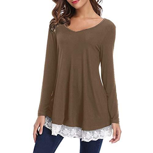 T Shirt Damen Bluse Damen Elegant Einfarbig Komfortabel Oversize V-Ausschnitt Einfachheit Schlank Sexy Mode Spitze Saum Spleißen Langarm T-Shirt Herbst Neues E-Brown L