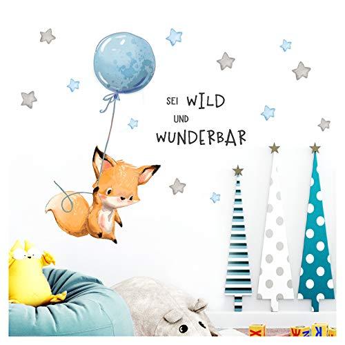 Little Deco Aufkleber Spruch sei wild & Fuchs I Wandbild 116 x 62 cm (BxH) I Luftballon Wandbilder Wandtattoo Kinderzimmer Junge Tiere Deko Babyzimmer Kinder DL315