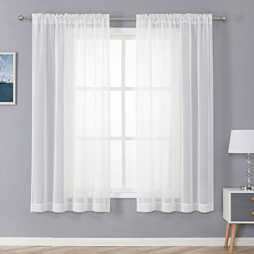 CUCRAF Off White Sheer Curtains Panels for Living Room Bedroom Window Treatment Dual Rod Pocket (54 Wide x 63 inches Long, Set of 2)¡