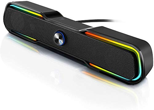 ARCHEER PC Lautsprecher USB Computer Boxen Wired Stereo Mini Speaker Portable Musikbox Soundbar mit RGB LED Beleuchtung 3,5 mm Klinke für Laptop Desktop Smartphone Notebook TV