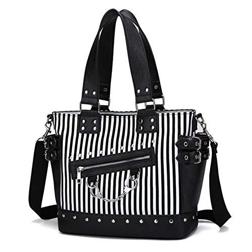 Women Fashion Rivet Handbag Purse Canvas Punk Tote with Shoulder Strap...
