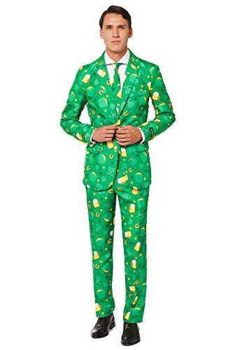 Suitmeister St. Patrick Anzüge für Herren - St. Patrick's Day Icons - Mit Jackett, Hose und Krawatte mit Festlichen Print - S