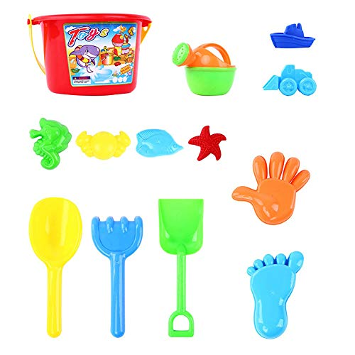 cA0boluoC Juego de juguetes de arena de playa, castillo de arena, cubo de pescado modelo pala rastrillo juego de pala, juego de herramientas para verano al aire libre para niños 20 piezas