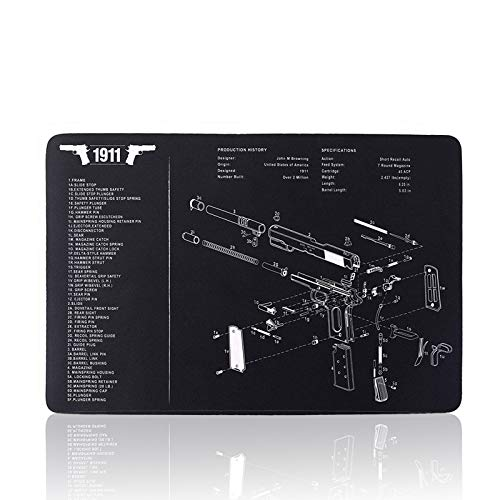 Gaming Mouse Pad Large Square Extended Mouse pad XL Gun Cleaning Pad Mat Premium-Textured Mouse Mat for Laptop Computer (Black SPS1911)