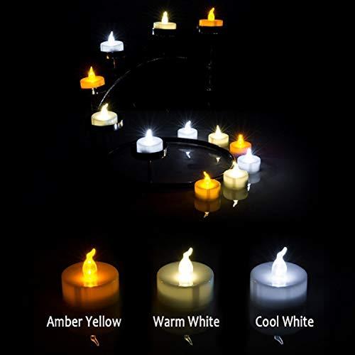 Yooyee Candele a LED 24 pezzi Lumini da Tè Candela Senza Fiamma Bianco Freddo Candela da Tè Candele Elettriche a Batteria Luminose per Decorazione di Casa Festa Halloween Natale (Bianco Freddo)