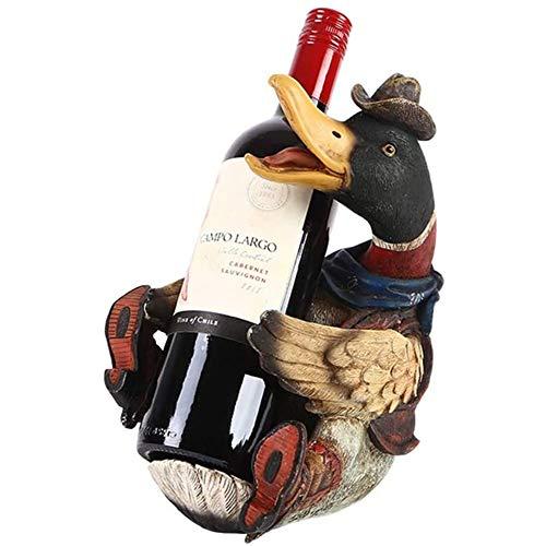 ZYCH Novelty Creative Duck Wine Bottle Rack Resin Free Standing Wine Holder Home Bars TV Cabinet Decorations Festival Wine Shelf
