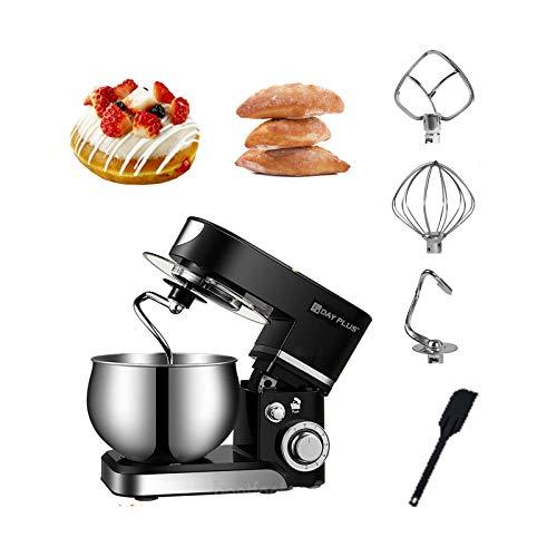 Multifunktionale Edelstahl Küchenmaschine Rührmaschine 5 Liter Knetmaschine Edelstahlschüssel Spritzschutz Teigkneter 6-stufige Geschwindigkeit 1000W