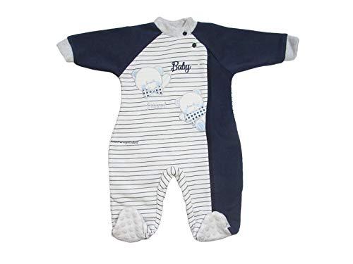Nazareno Gabrielli Pyjama d'hiver Friend pour enfant 6/24 mois en coton brodé avec fermeture éclair – Art- 2260/4 - Bleu - 12 mois