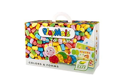 PlayMais Fun to Learn Colors & Forms Bastel-Set für Kinder ab 3 Jahren I Motorik-Spielzeug mit 550 PlayMais & 14 Motiv-Vorlagen zum Basteln I Fördert Kreativität & Feinmotorik I Natürliches Spielzeug