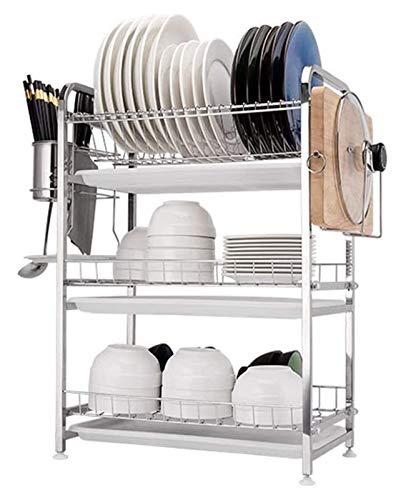 Escurridor de Platos Multifuncional cocina de almacenamiento de cocina de 3 niveles de acero inoxidable de 3 niveles que se drena en la cocina  Tenedor de rack de drenador de platos con bandeja y sopo