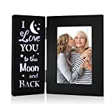 YEASL Love Black Picture Frame 4X6 - I Love You To The Moon and Back Wood Photo frame,Couples Mother Gift