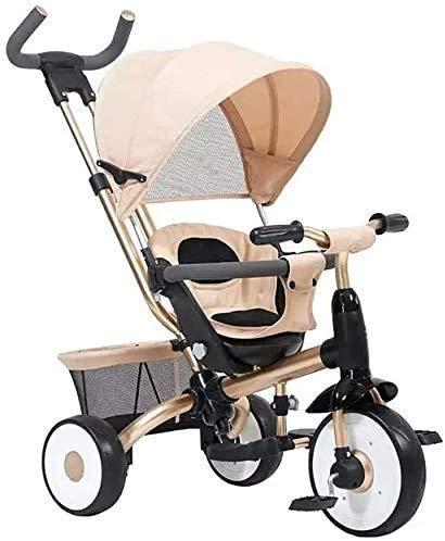 CENPEN Triciclo de niños Hijos multifuncionales Triciclo Bicicleta Cochecito de bebé 0-4 años de Edad Cochecito (Color: Beige)