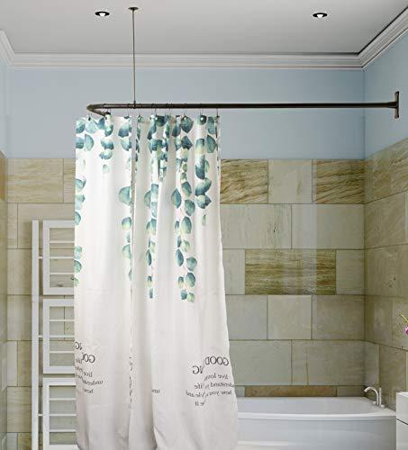 Artiwell L Shaped Shower Curtain Rod, Bathroom Bathtub Corner Shower Curtain Rod with Ceiling Support (MATT BLACK)