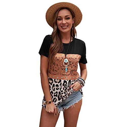 SLYZ Mujeres Europeas Y Americanas Verano Nuevo Estampado De Leopardo Hit Color Cuello Redondo Blusa Blusa Casual Camiseta De Mujer