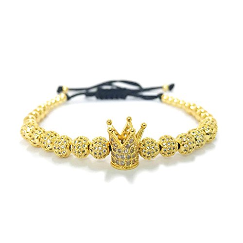 MESE London Rey Corona Perlas Pulsera 18ct Oro Plateado 'The Emperor'