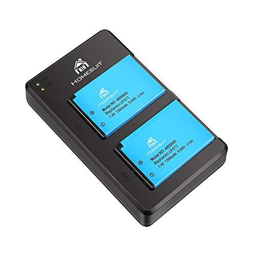 Homesuit 2er-Pack LP-E17-Set mit verbessertem Akku und schnellem Dual-Micro-USB-Ladegerät für Canon Rebel SL3, SL2, T8i, T7i, T6i, T6s, EOS M3, M5, M6, EOS 200D, 77D, 750D, 760D, 800D, 8000D und mehr