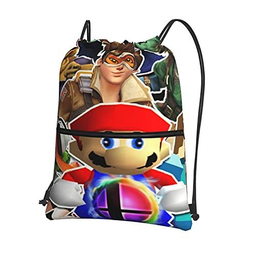 Smash Bros. Ulti-mate - Mochila con cordón para natación, bolsa de polietileno, con cordón, grande, para deportes, gimnasio, para mujeres, para hombres, viajes, playa, para adolescentes,con cremallera