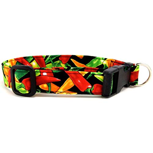 K9 Bytes Chili Peppers Dog Collar Large