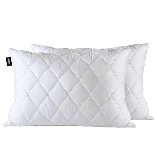 Amazon Brand - Umi Cuscino in Piuma D'Oca Bianca in Confezione da 2, Cuscino Trapuntato Morbido, 50x70 cm