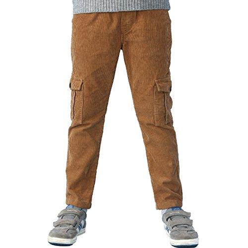 Leo&Lily Boys Husky Waist Whole Waist Rib Corduroy Cargo Trousers Pants (Khaki, 16)