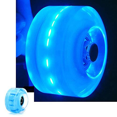 zmr 4 Stück Riemenscheiben-Ersatzräder, leuchtende LED-Quad-Rollschuh-Räder, ausgestattet mit Hochgeschwindigkeits-Kugellagern, geeignet für zweireihige Riemenscheiben und Skateboards (blau).