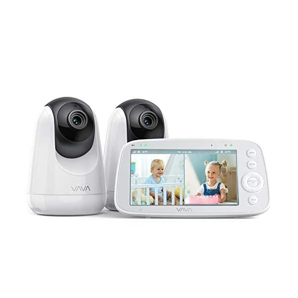VAVA Baby Monitor Split View, 5″ 720P Video Baby Monitor with 2 Cameras, Audio...