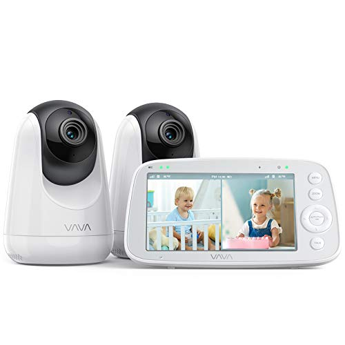 "VAVA Baby Monitor Split View, 5"" 720P Video Baby Monitor with 2 Cameras, Audio and Visual Monitoring, Pan Tilt Zoom, 900ft Range, 4500mAh Battery, Infrared Night Vision and Thermal Monitor"