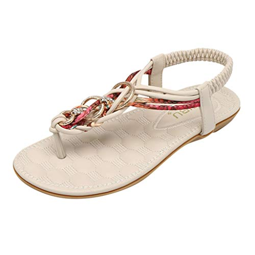 Buy Kiminana Women Classic Ethnic Style Weaving Strappy Clip Toe Sandals Casual Flip Flops Outdoor C...