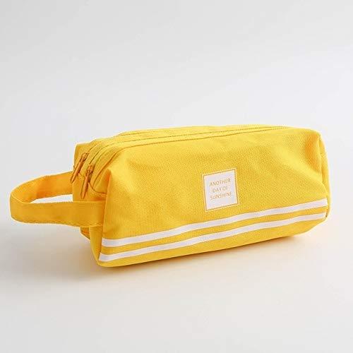 Hmg De Mano 2 PCS de Gran Capacidad de la Pluma Bolsa de Color Puro Doble Cremallera Bolso de la Pluma (Amarillo) (Color : Yellow)
