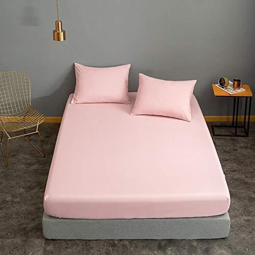 HJUYT Funda de colchón 160 * 200 Rojo Vino Color sólido lencol Cama casal para sábana de Cama Individual/Queen/King Drap housse sin Funda de Almohada