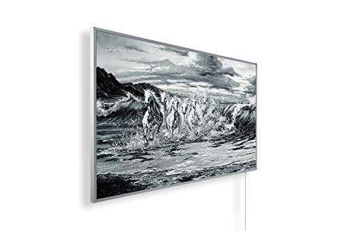 Könighaus Radiateur infrarouge lointain – Chauffage d'image de qualité HD avec certification TÜV/GS – 200+ images – 800 W – breveté – cadre blanc (105 poste de cuisson chevaux) Black Edition