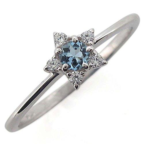 18金 アクアマリンサンタマリアリング スター 星 3月誕生石 指輪 リングサイズ7号