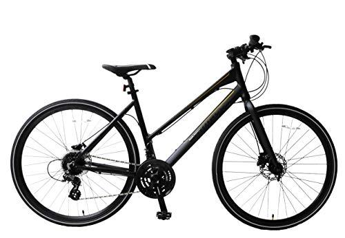 Ammaco. Strada 700c Hybrid Trekking Road Commuter Sports Bike 24 Speed Womens Hydraulic Disc Brakes Lightweight Alloy 16' Frame Black