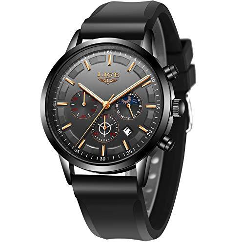 LIGE Uhren Herren wasserdichte Chronograph Mondphase Analog Quarz Schwarz Silikonband Armbanduhren für Herren …