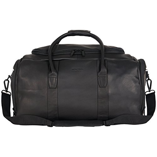 """Kenneth Cole Reaction Duff Guy Colombian Leather 20"""" Single Compartment Top Load Travel Duffel Bag, Black"""