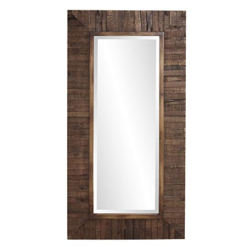 Howard Elliot Timberlane Rustic Wall Mirror, Walnut Finished Wood Frame Accent -
