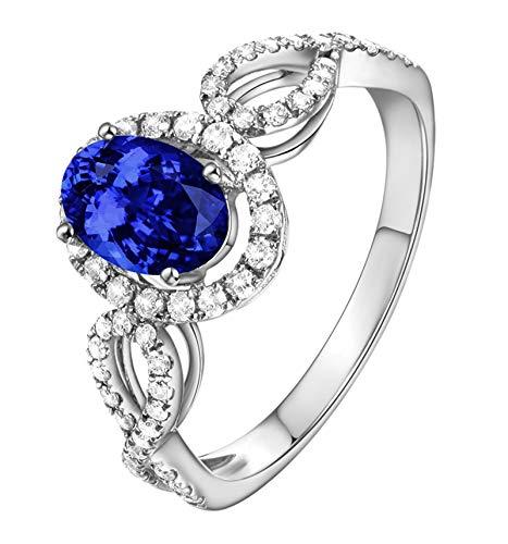 Beglie 18 Karat Damen Ringe Ovale Form Verlobungsringe 1.06Ct Saphir 750 Gold Echtschmuck Paarringe Ausgefallen Silber Größe 58 (18.5)