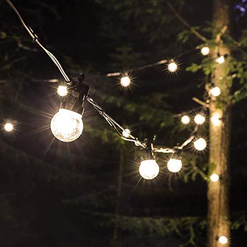 Wuudi - Guirnalda de luces para exteriores, G50, resistente al agua, 20 bombillas, luz blanca cálida con enchufe, iluminación interior para jardín, terraza, fiesta (bola transparente 24 V20)